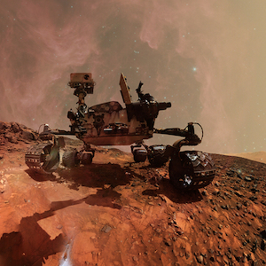 Curiosity Mars Rover Exploring The Surface Planet Of Mars. Elements Of This Image Furnished By Nasa.