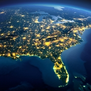 Detailed Earth. North America. Usa. Gulf Of Mexico And Florida On A Moonlit Night